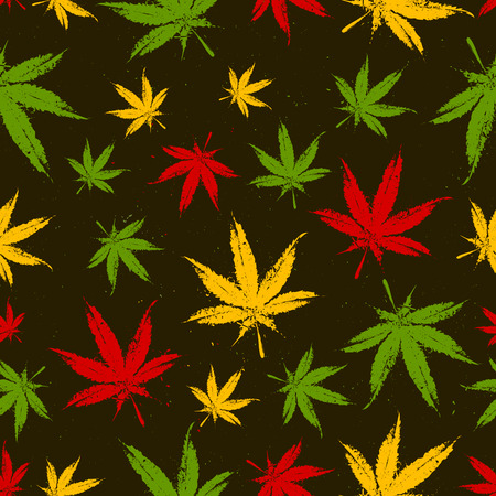 Ganja Leaves Seamless Pattern. Vector Illustration.  イラスト・ベクター素材