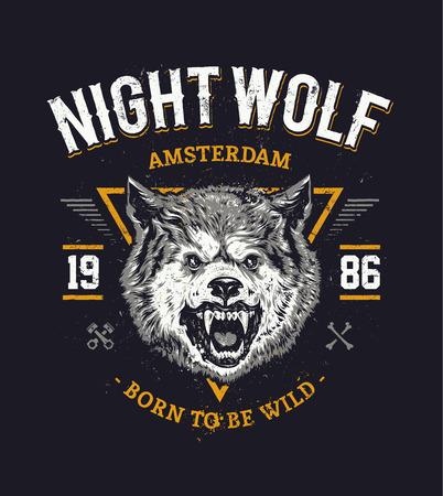 Wolf head grunge vector art.