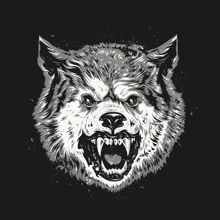 늑대 머리 그런 지 벡터 아트.