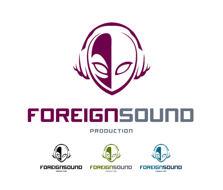 logo music: Musical logo design template. Abstrect alien head shape with headphones. Vector art.