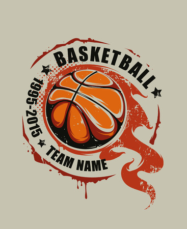 Grunge basketball emblem. Flaming basketball graffiti. Vector art.