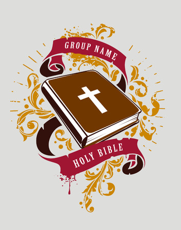 Grunge vector illustration of holy bible with ribbons and florals. Vector print.