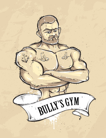 muscle guy: Hand-drawn muscular gym guy with tattoos. Vintage ribbon banner. Sketchy retro styled vector illustration.
