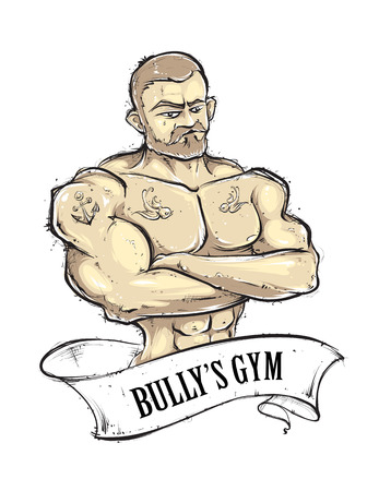 sexy muscular man: Hand-drawn muscular gym guy with tattoos. Vintage ribbon banner. Sketchy retro styled vector illustration.