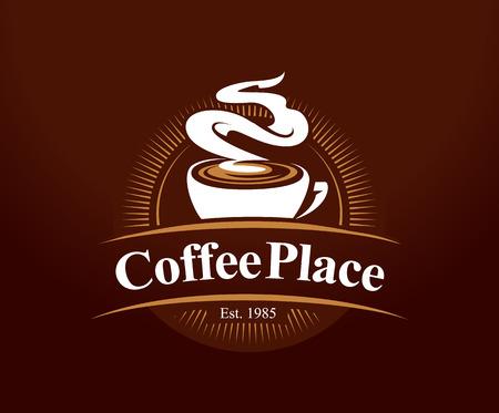 Coffee shop logo design template. Retro coffee emblem. Vector art. Vectores