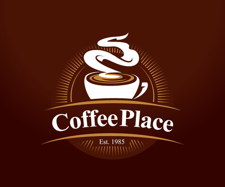 Coffee shop logo design template. Retro coffee emblem. Vector art. Çizim