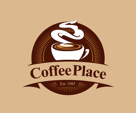 Coffee shop logo design template. Retro coffee emblem. Vector art.  イラスト・ベクター素材