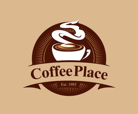 Coffee shop logo design template. Retro coffee emblem. Vector art. 일러스트