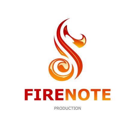 Musical logo design template. Fire note shape. Vector art.