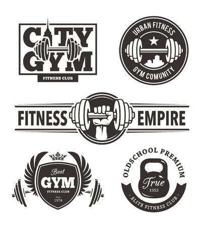 gym equipment: Set di eleganti emblemi di fitness. Modelli Gym logo. Arti vettore.