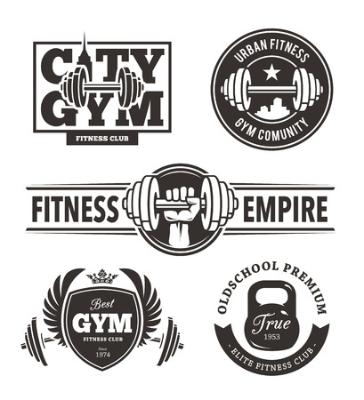 exercise equipment: Set of stylish fitness emblems. Gym logo templates. Vector arts.