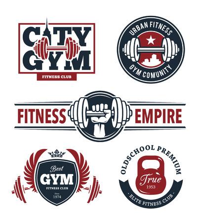 Conjunto de emblemas de fitness con estilo. Gimnasio logo plantillas. Artes del vector. Foto de archivo - 37926808