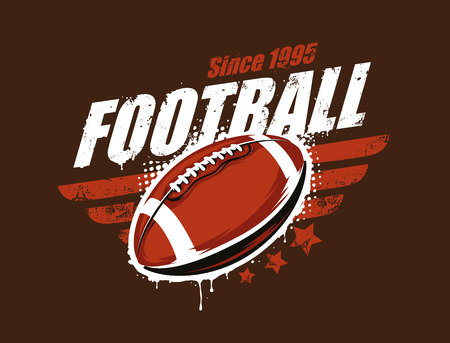 Grunge football print. Retro styled. Vector art.