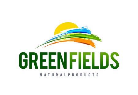 doğa arka: Grean field logo design template. Abstract nature symbols. Vector art.