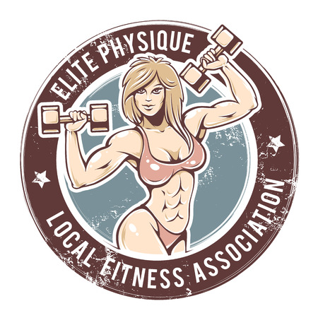 Retro styled fitness lady. Grunge gym emblem with sexy girl. Vector art. Ilustracja