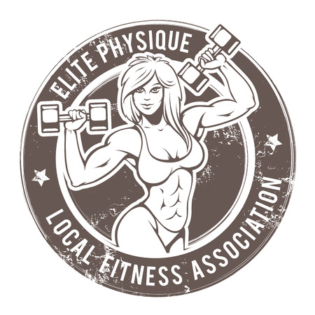Retro styled fitness lady. Grunge gym emblem with sexy girl. Vector art. Stock Illustratie