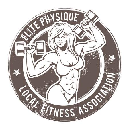 Retro stijl fitness dame. Grunge sportschool embleem met sexy meisje. Vector kunst. Stockfoto - 37927077
