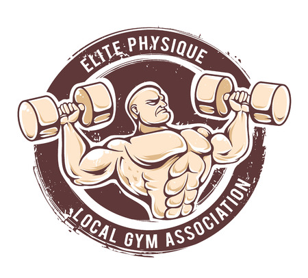 heavy weight: Retro styled fitness man. Grunge gym emblem with muscular dude. Vector art. Illustration