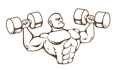 lifting weights: Huge muscular dude isolated on white background. Vector art.