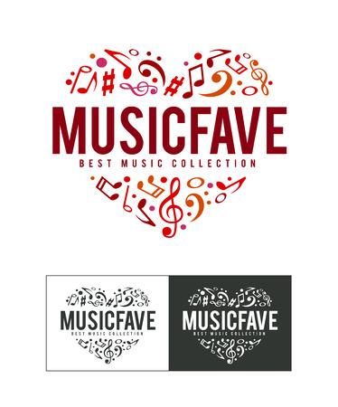 musical: Musical logo design template. Notes heart shape. Vector art. Illustration