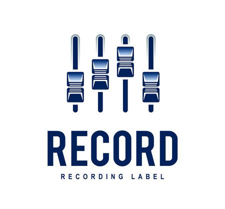 recording studio: Muzikale logo ontwerp sjabloon. Audio mixer schuifregelaars. Opnamestudio. Vector art. Stock Illustratie