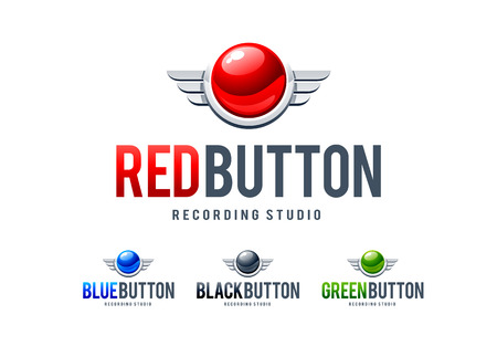 wing logo: Red glossy button with metal wings. Logo design template. Vector art.