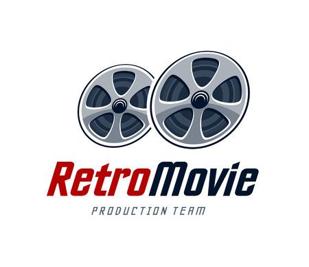 movie production: Movie production studio logo design template. Retro cinema reels. Vector art. Illustration