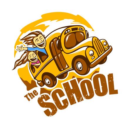 Grappig schoolbus vector illustratie. Vector afdruk.