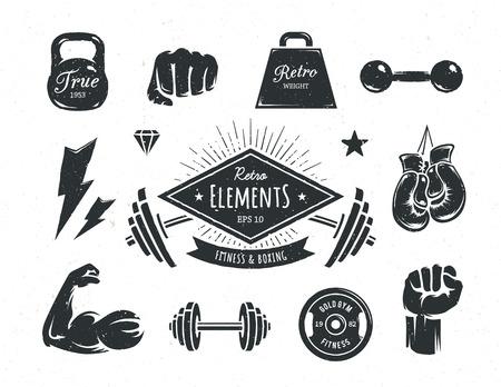 Conjunto de aptitud elementos de diseño retro de estilo. Atributos de gimnasia y boxeo de la vendimia. Ilustraciones del vector.