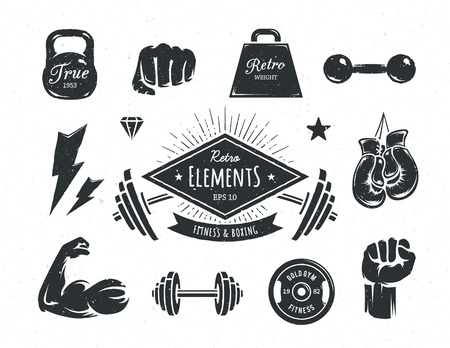 puños cerrados: Conjunto de aptitud elementos de diseño retro de estilo. Atributos de gimnasia y boxeo de la vendimia. Ilustraciones del vector.