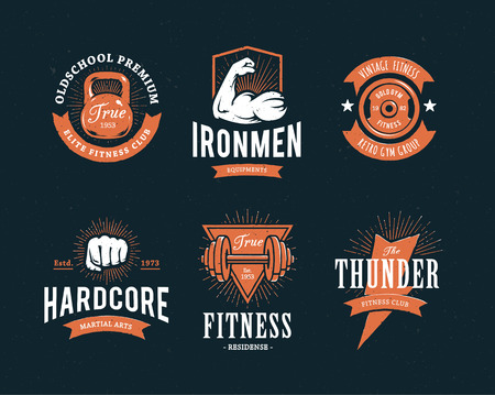 gym: Set of retro styled fitness emblems. Vintage gym icon templates. Vector illustrations.