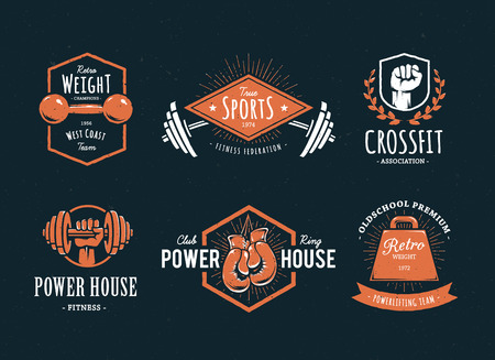 barbell: Set of retro styled fitness emblems. Vintage gym icon templates. Vector illustrations.