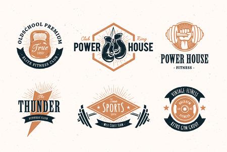 gimnasio: Conjunto de estilo retro emblemas de fitness. Vintage plantillas icono gimnasio. Ilustraciones del vector. Vectores