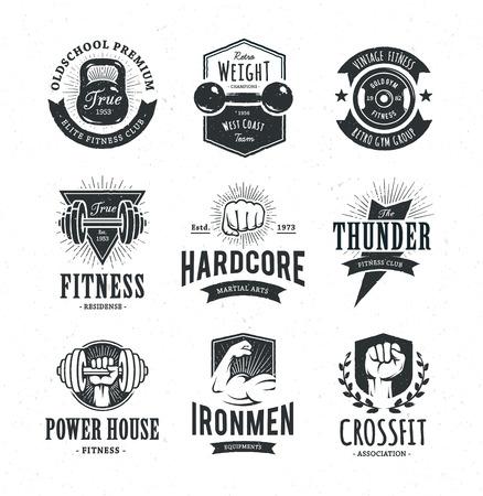 Set di retrò, emblemi di fitness. Vintage modelli icona palestra. Illustrazioni vettoriali. Archivio Fotografico - 39233590