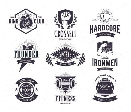 fitness: Set di retrò, emblemi di fitness. Vintage modelli icona palestra. Illustrazioni vettoriali. Vettoriali