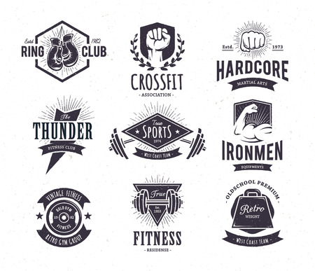 Set of retro styled fitness emblems. Vintage gym icon templates. Vector illustrations. Zdjęcie Seryjne - 39233591