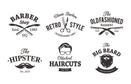 barbero: Vector conjunto de emblemas barbería vintage. Barber Shop icon plantillas.