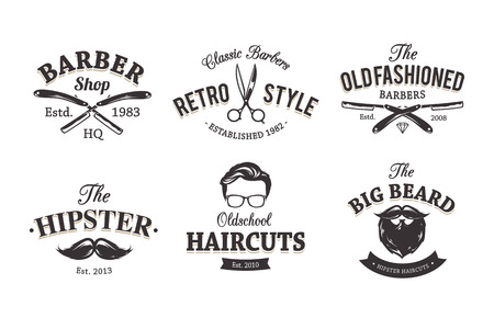 shave: Vector set of vintage barber shop emblems. Barber shop icon templates.