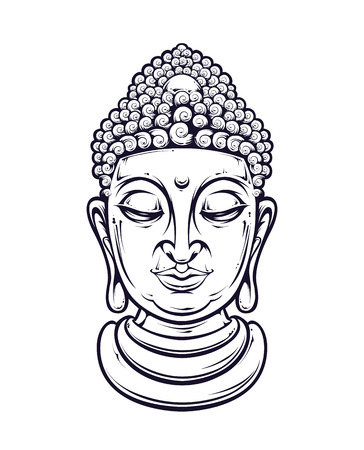 Vector buddha head isolated on white. Vector illustration. Çizim