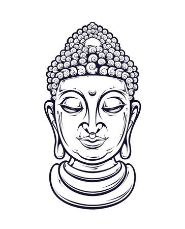 cabeza de buda: Vector cabeza de Buda aislado en blanco. Ilustración del vector.