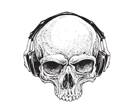 Dotwork styled skull with headphones. Vector art.