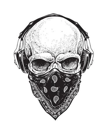 Dotwork stijl schedel met hoofdtelefoons en bandana. Vector kunst. Stock Illustratie