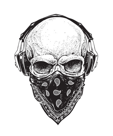 style: Dotwork styled skull with headphones and bandana. Vector art.
