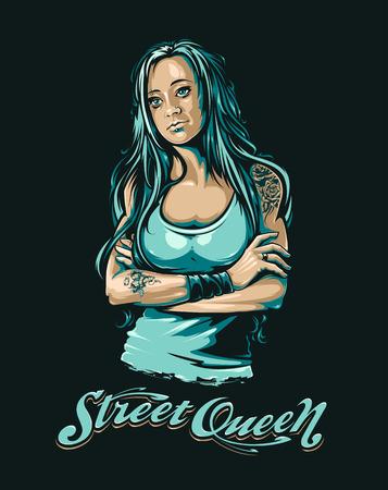 長髪の入れ墨グランジ スタイルの女性。フロントストリート クイーン タイポグラフィ。クールなグランジの肖像画。ベクター アートです。