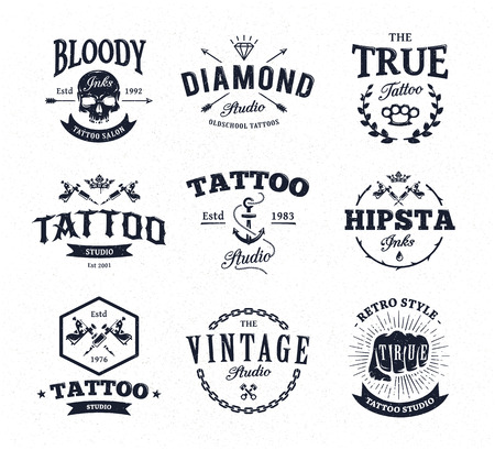 skull and crown: Vector set of cool tattoo studio icon templates on white background. Retro styled trendy vector emblems.