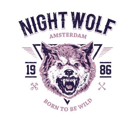 Night wolf grunge print. Vector art.