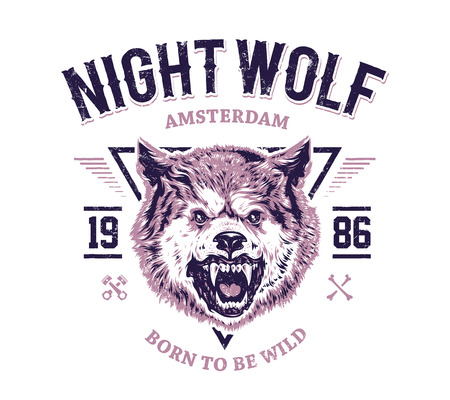 Night wolf grunge print. Vector art.