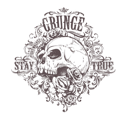 calaveras: Arte del cráneo del Grunge. Estampado de flores del vintage. Impresión de Grunge. Vector el arte.