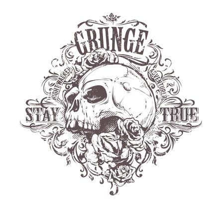 Grunge skull art. Vintage floral pattern. Grunge print. Vector art. Ilustracja
