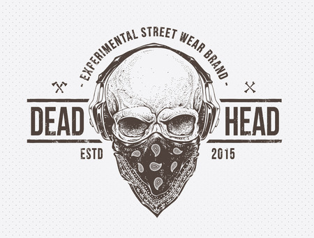 Grunge print. Skull with headphones. Dotwork styled vector art. Vettoriali